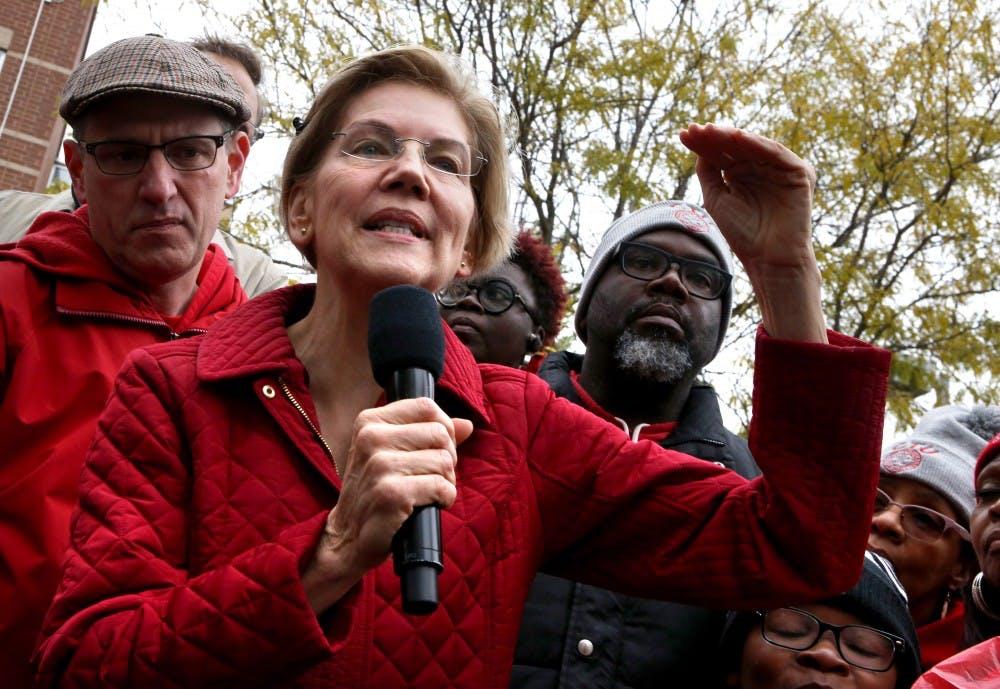 <p>Democratic presidential candidate Sen. Elizabeth Warren speaks Oct. 22 at a Chicago Teachers Union rally in Chicago. </p>