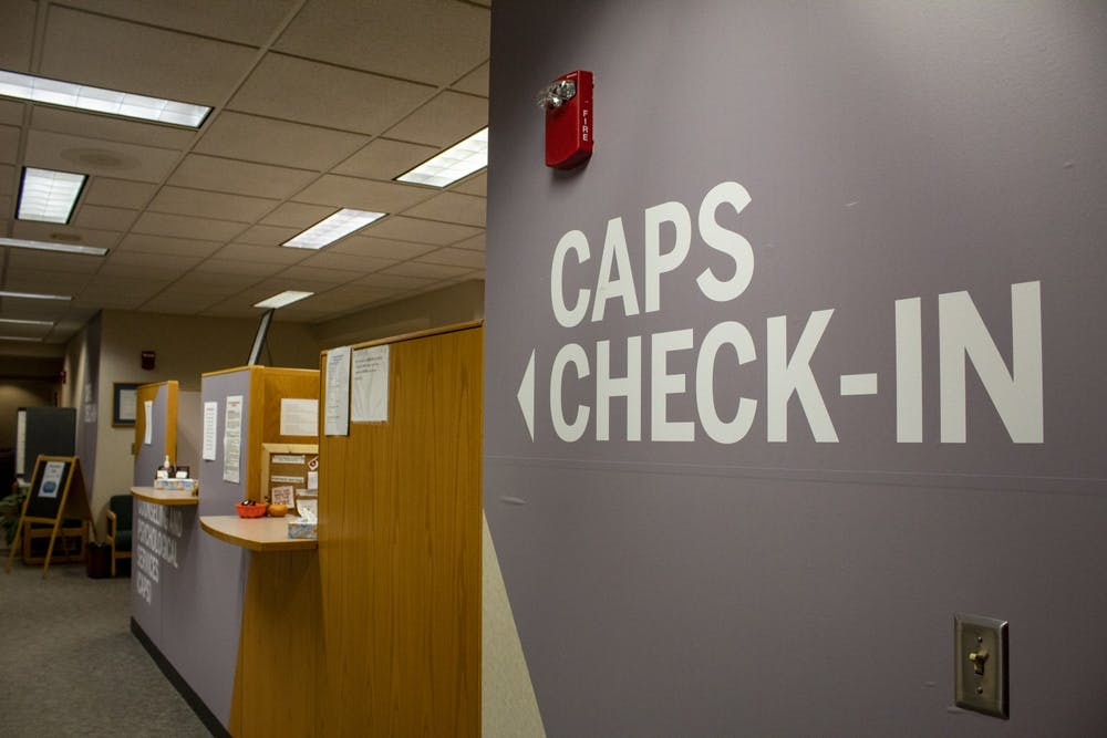 <p>The Counseling and Psychological Services check-in desk is seen on the fourth floor of the IU Health Center. CAPS will be only offering virtual sessions due to the coronavirus pandemic.</p>