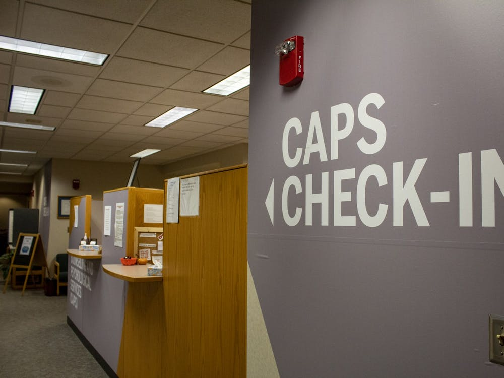 The Counseling and Psychological Services check-in desk is seen on the fourth floor of the IU Health Center. CAPS will be only offering virtual sessions due to the coronavirus pandemic.