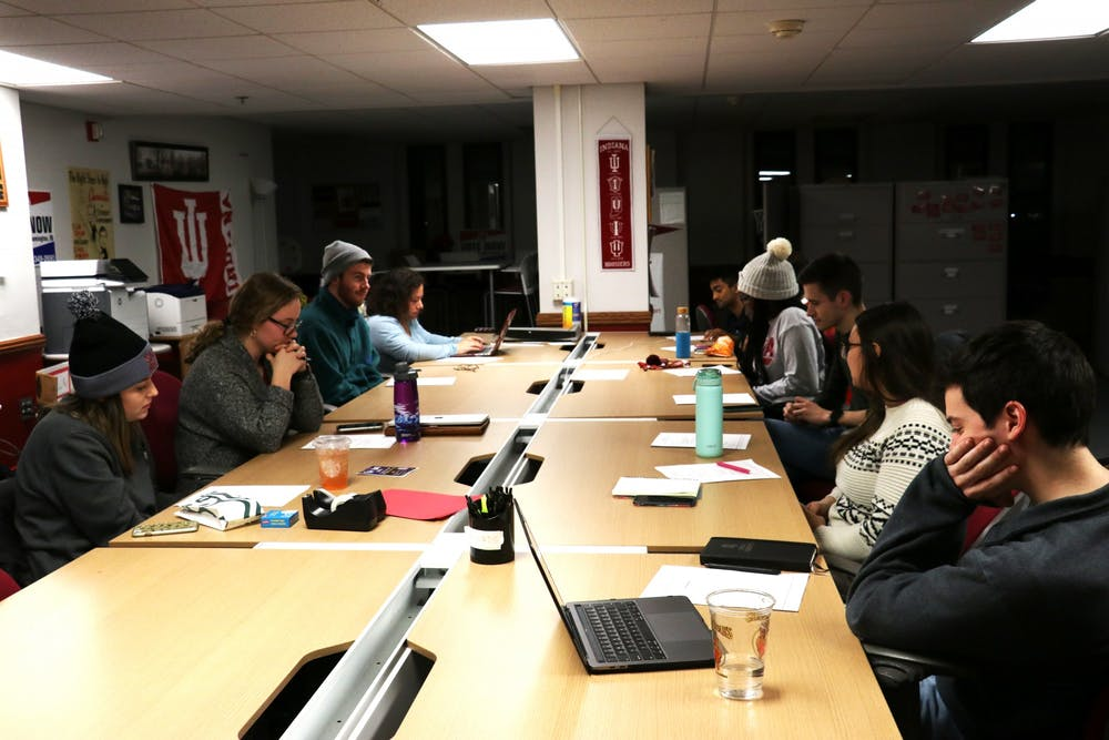 <p>Members of the IU Student Government meet Jan. 21 in the Indiana Memorial Union activities tower. IUSG announced Thursday it will give away $100,000 to students economically affected by the coronavirus.</p>