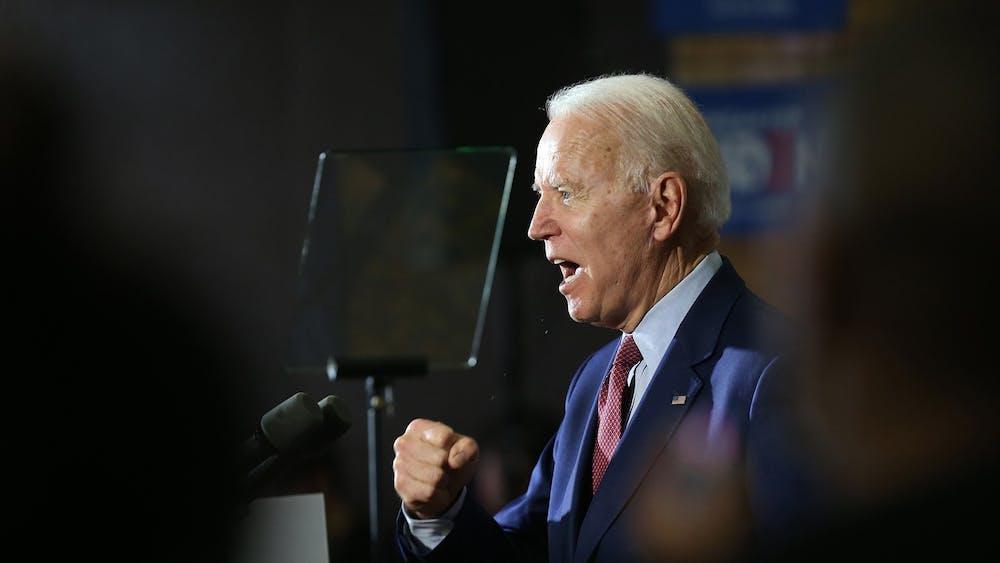 Former Vice President Joe Biden speaks at the Berston Field House on March 9 in Flint, Michigan.