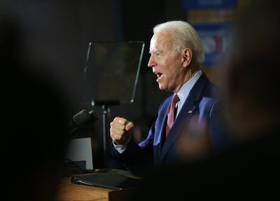 Former Vice President Joe Biden speaks at the Berston Field House on March 9 in Flint, Michigan.