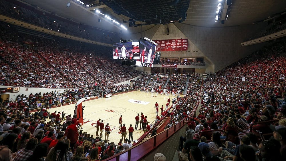 Fans pack the stands at the 2017 Hoosier Hysteria in Simon Skjodt Assembly Hall.