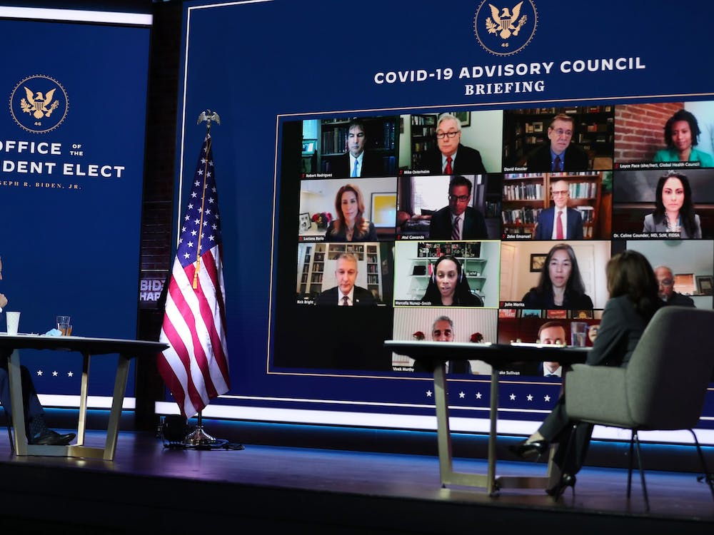 President-elect Joe Biden and Vice President-elect Kamala Harris receive a briefing from the transition COVID-19 advisory board Nov. 9 in Wilmington, Delaware.