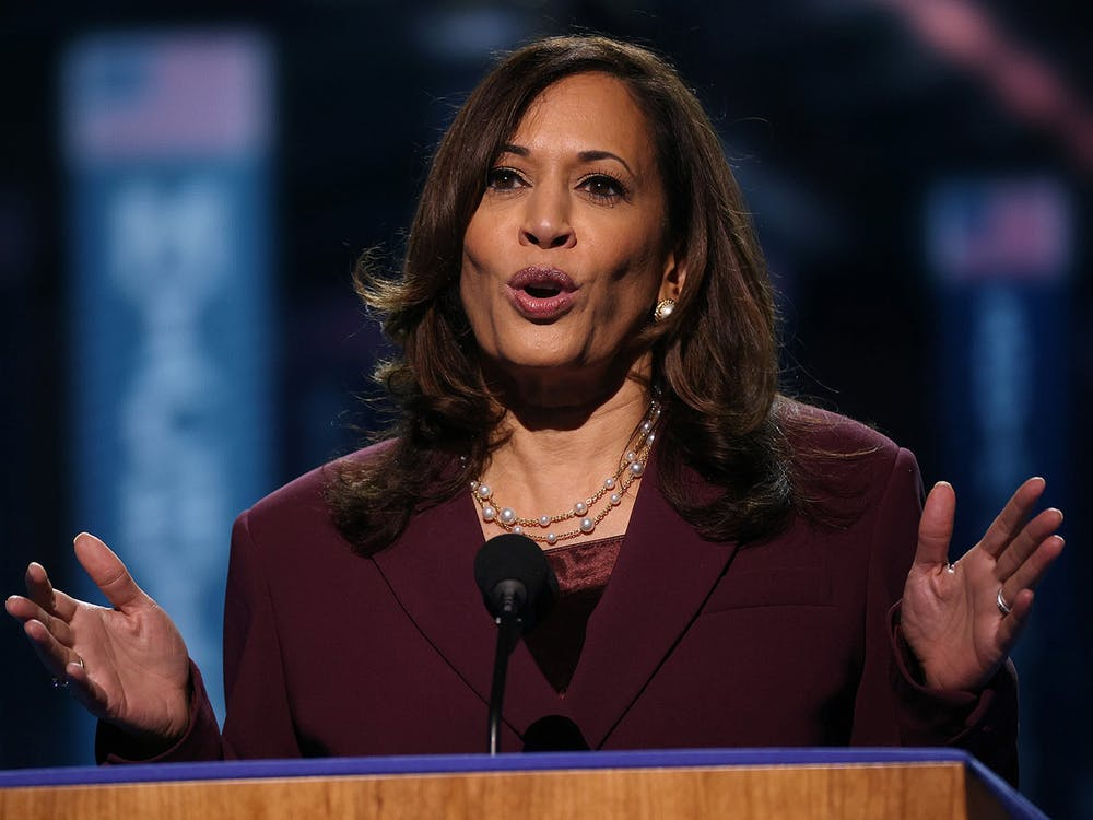 Democratic vice presidential nominee Sen. Kamala Harris, D-CA, speaks on the third night of the Democratic National Convention on Aug. 19 from the Chase Center in Wilmington, Delaware.