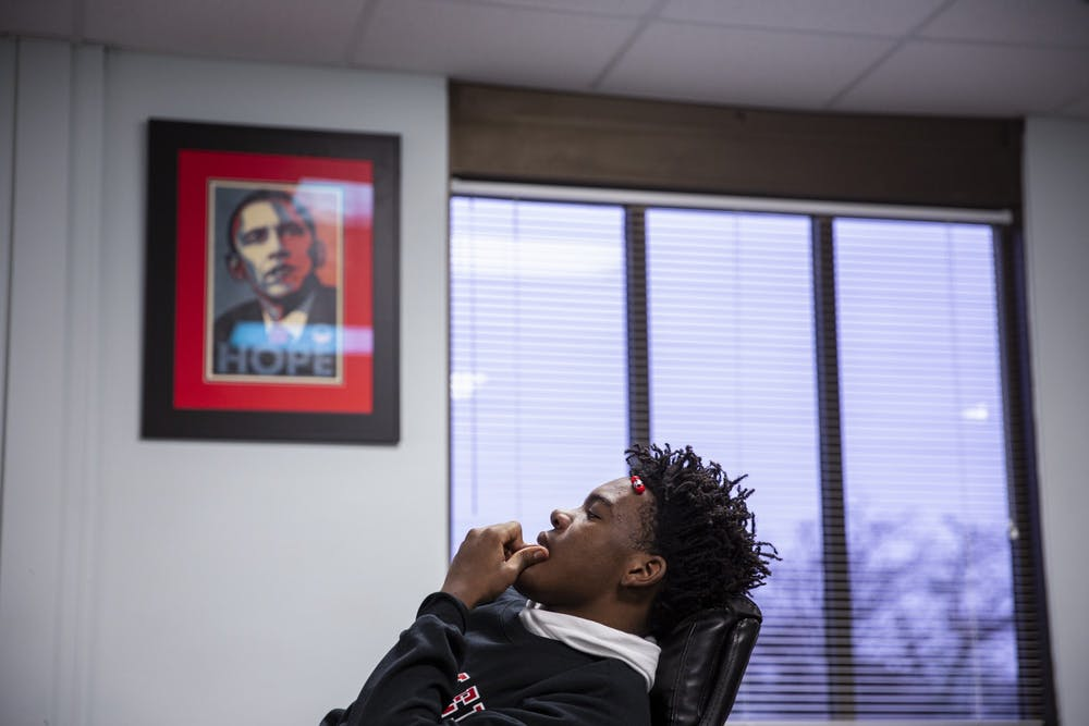 "<p>Da'Quincy Pittman, 15, waits for his schedule Feb. 24, his first day back to school since being shot six times in December. ""It just hits me sometimes,"" he said. ""It haunts me.""</p>"