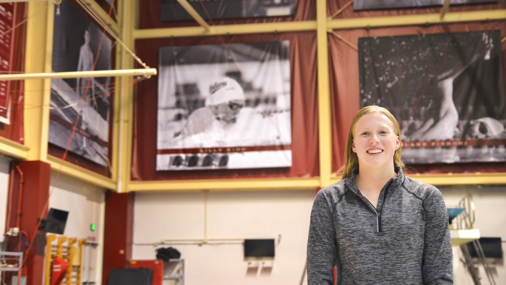 Lilly King, Olympic gold medalist and IU senior, is honored with a banner in the Counsilman Billingsley Aquatic Center for her many athletic achievements. King will compete in the Big Ten women's swimming and diving conference championships Feb. 20-23.