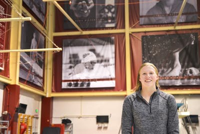 Lilly King, Olympic Gold medalist and IU senior, is honored with a banner in the Counsilman Billingsley Aquatic Center for her many athletic achievements. King will compete in the Big Ten women's swimming and diving conference championships Feb. 20 through Feb. 23.
