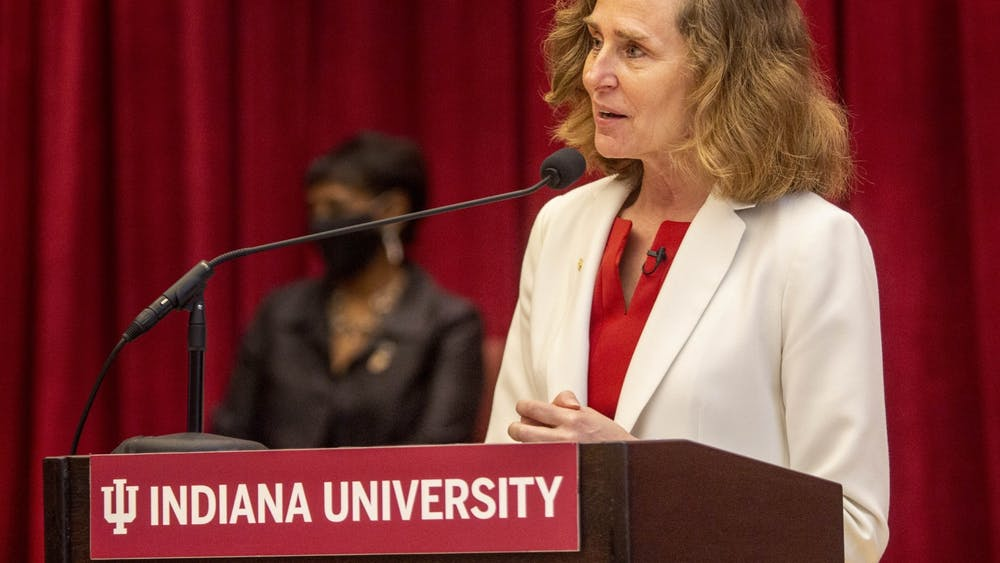 Then IU President-elect Pamela Whitten speaks April 16, 2021, in Neal-Marshall Grand Hall. Whitten announced Tuesday a $30 million fund which will support IU's new seven-yearPresidential Diversity Hiring Initiative.