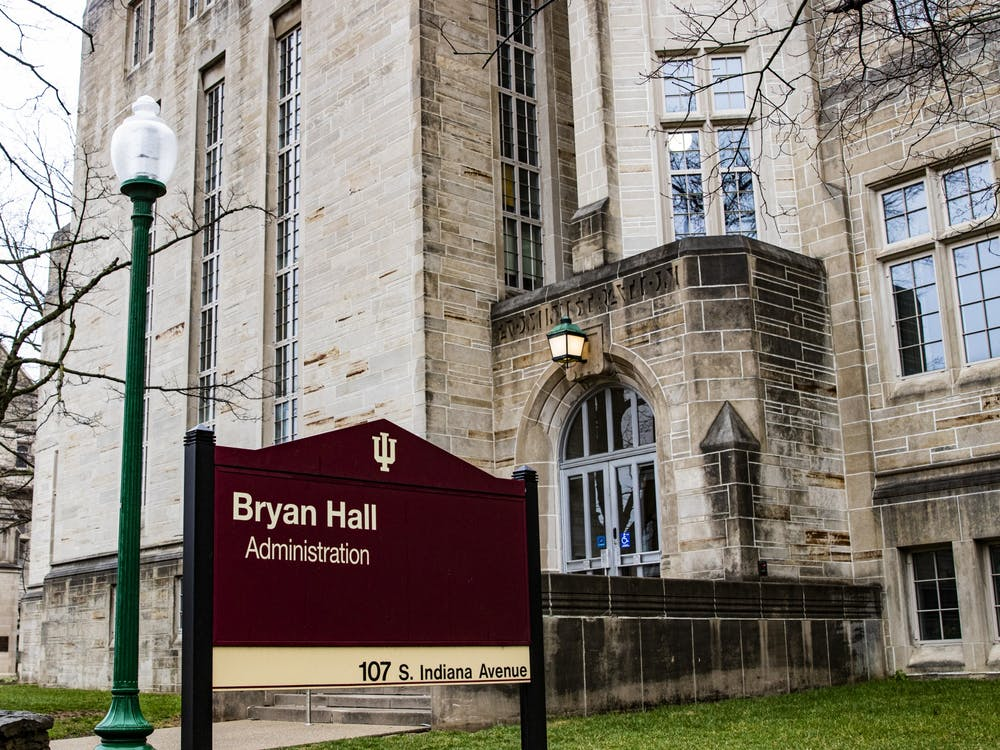 A sign for Bryan Hall stands March 18 at 107 S. Indiana Ave.