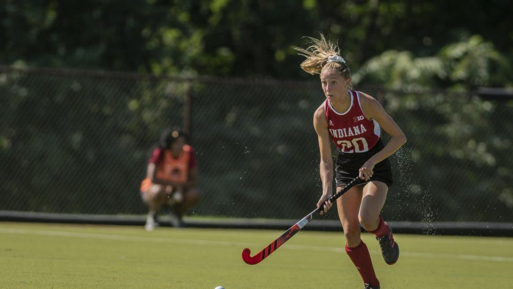 Freshman Maddie Boehm dribbles in open space during a 2-1 loss to Northwestern on Sept. 14 at the IU Field Hockey Complex. She scored mid-way through the second half to give IU its only goal of the match.