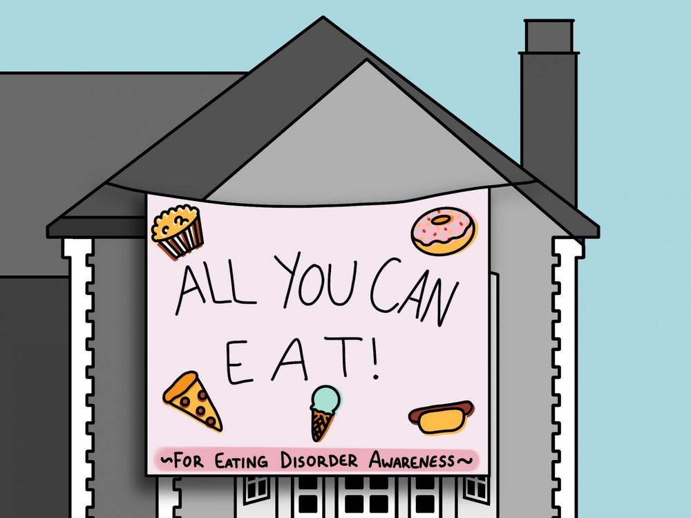 <p>Delta Phi Epsilon put on an event including an all-you-can-eat buffet to raise awareness for eating disorders.</p>