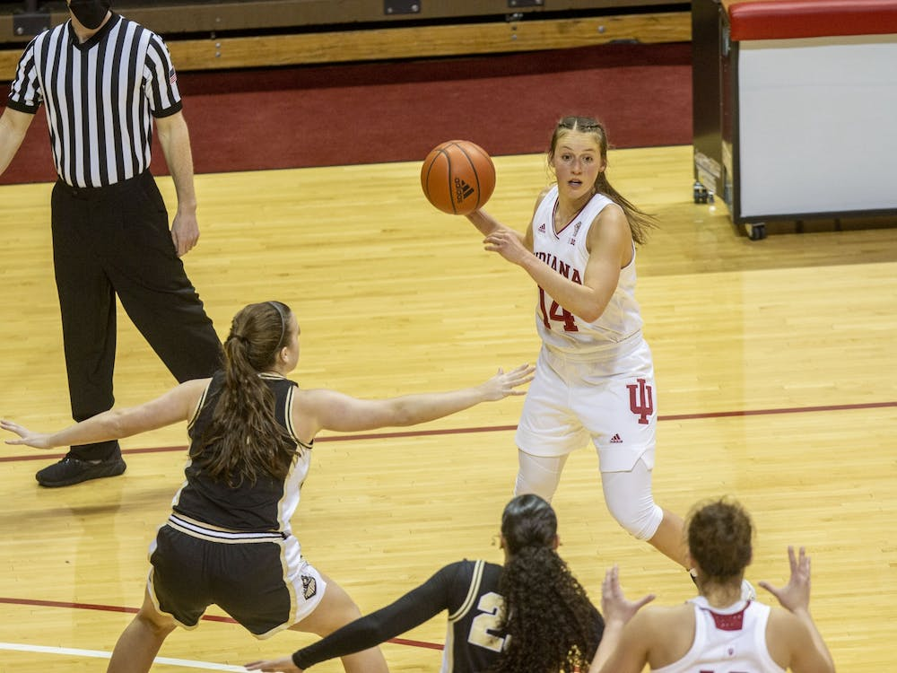 Senior guard Ali Patberg dribbles the ball Saturday at Simon Skjodt Assembly Hall. No. 10 IU defeated Purdue 74-59.