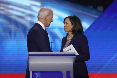 Former Vice President Joe Biden and Sen. Kamala Harris, D-CA, speak after the Democratic Presidential Debate at Texas Southern University's Health and PE Center on Sept. 12, 2019 in Houston, Texas. Biden announced Harris as his vice presidential running mate Tuesday.