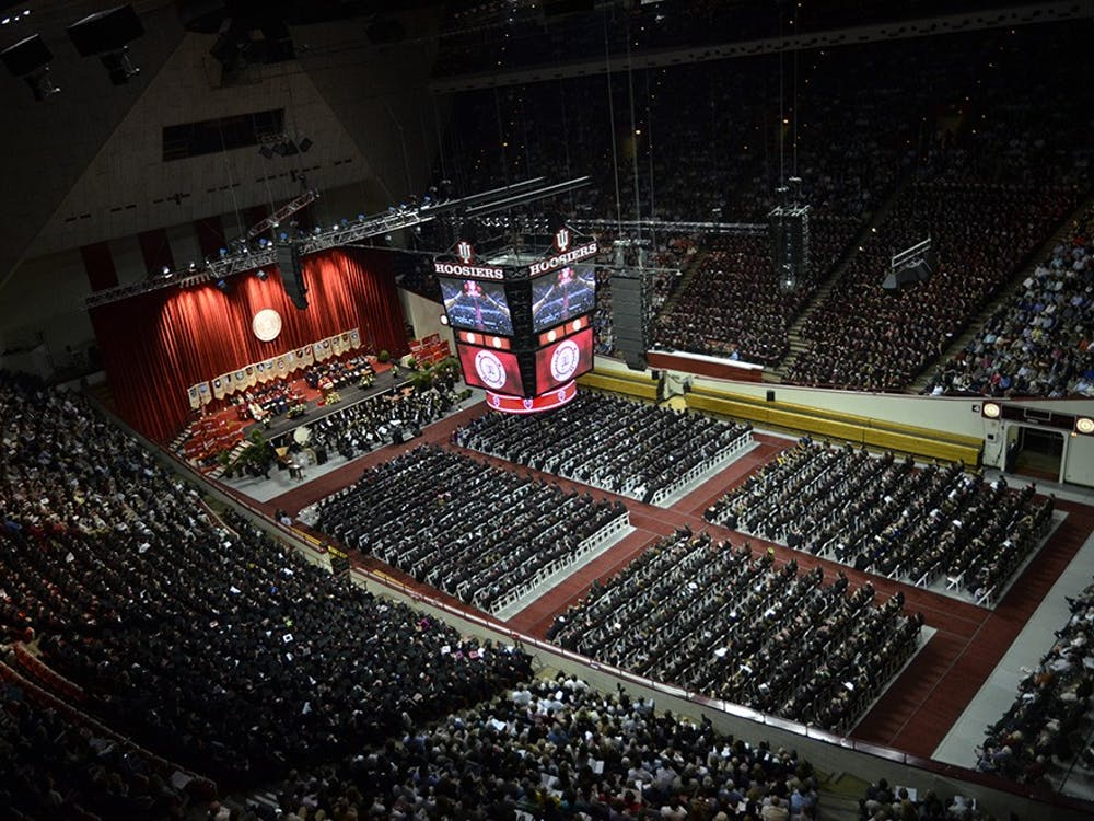 Class of 2011 undergraduates await induction during the first session of the one hundred eighty-second commencement on Saturday at Assembly Hall.