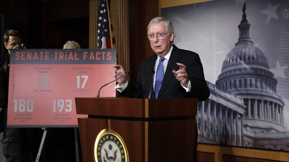 U.S. Senate Majority Leader Mitch McConnell, R-Ky., speaks Feb. 5 during his press conference on Capitol Hill in Washington, D.C. The Senate acquitted President Donald Trump of abuse of power and obstruction of Congress during his impeachment trial.