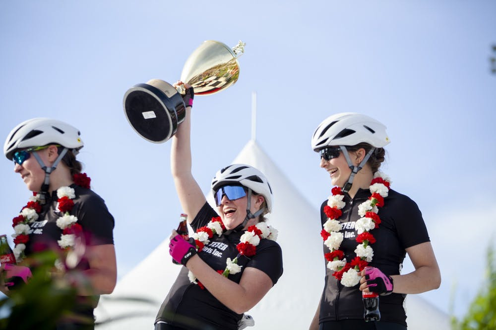 <p>Members of Teter Cycling pose with their prizes April 12, 2019, at Bill Armstrong Stadium. The first women&#x27;s Little 500 race began in 1988.</p>