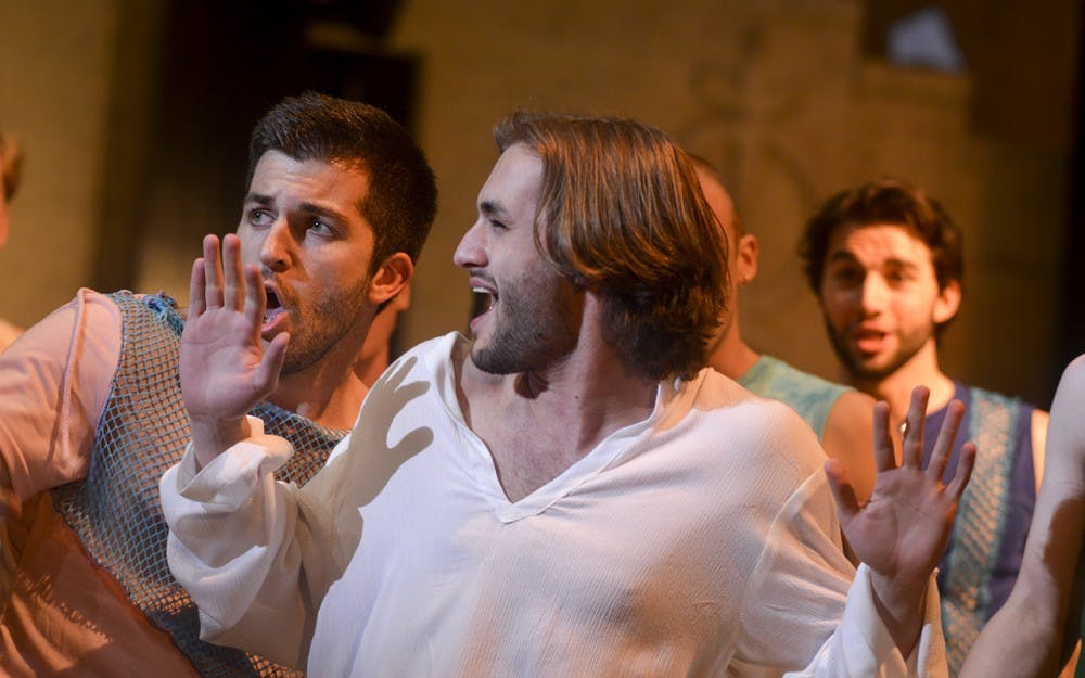 """The IU Theatre presents Andrew Lloyd Webber and Tim Rice's """"Jesus Christ Superstar"""" in a rehersal Tuesday evening at Ruth N. Halls Theatre. A modern take on the story of christ, the rock-opera follows Judas and his dissatisatisfaction with the direction that Jesus leads his disciples."""