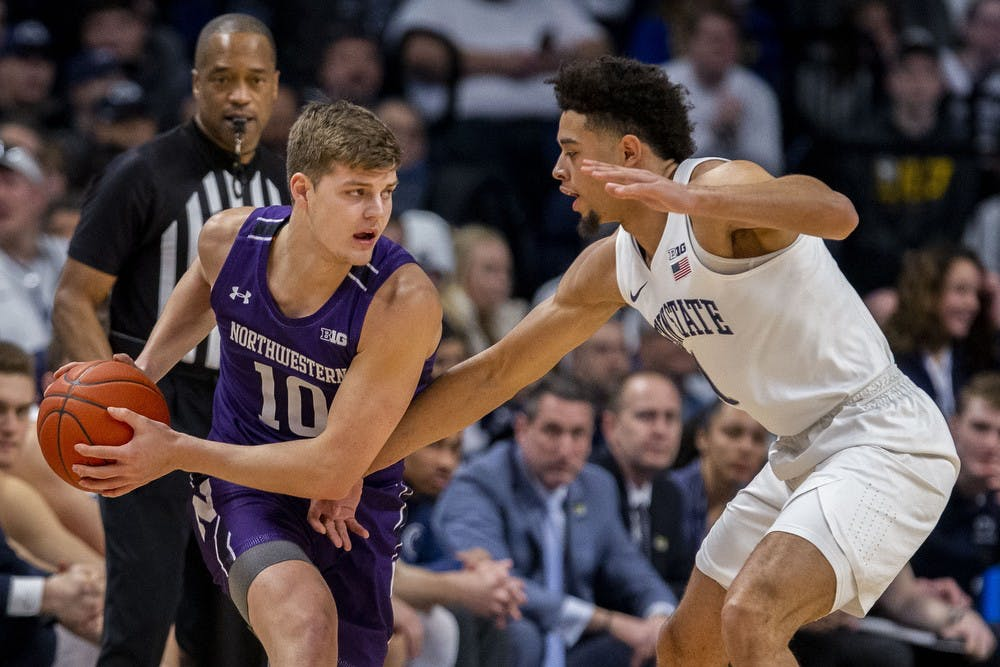 <p>Northwestern wing Miller Kopp, number 10, is defended by Penn State wing Seth Lundy on Feb. 15, 2020, at the Bryce Jordan Center in State College, Pennsylvania. Kopp announced Tuesday he will transfer to IU.</p>