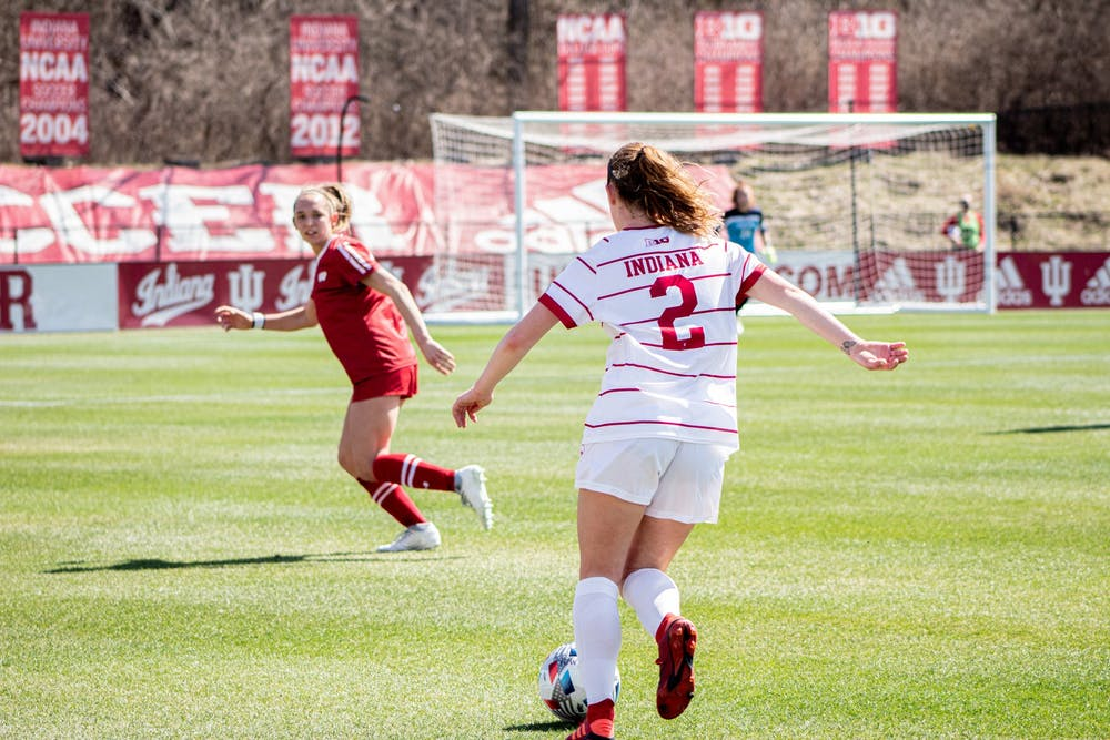 <p>Sophomore defender Karlee Luker dribbles the soccer ball March 21 at Bill Armstrong Stadium.IU&#x27;s Big Ten Regional Weekend match against Michigan was canceled due to COVID-19 cases in the Michigan program. </p>