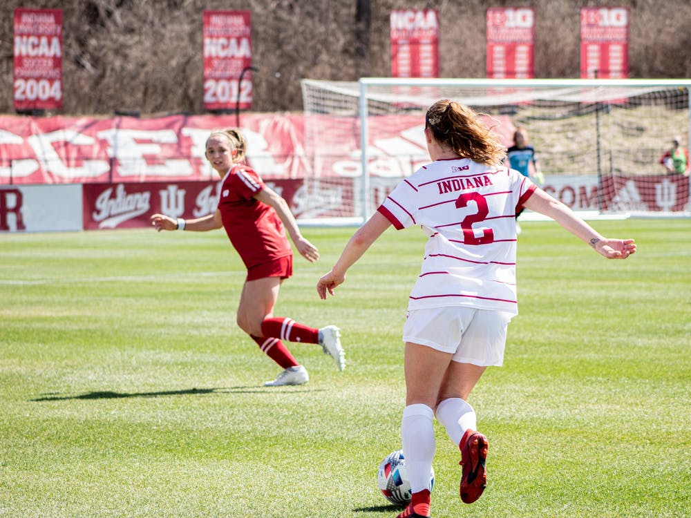 Sophomore defender Karlee Luker dribbles the soccer ball March 21 at Bill Armstrong Stadium. IU's Big Ten Regional Weekend match against Michigan was canceled due to COVID-19 cases in the Michigan program.