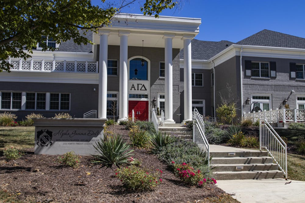<p>The Alpha Gamma Delta house is seen Sunday. Fifty members of the Alpha Gamma Delta sorority will voluntarily move out according to messages sent to members and parents obtained by the Indiana Daily Student. </p>