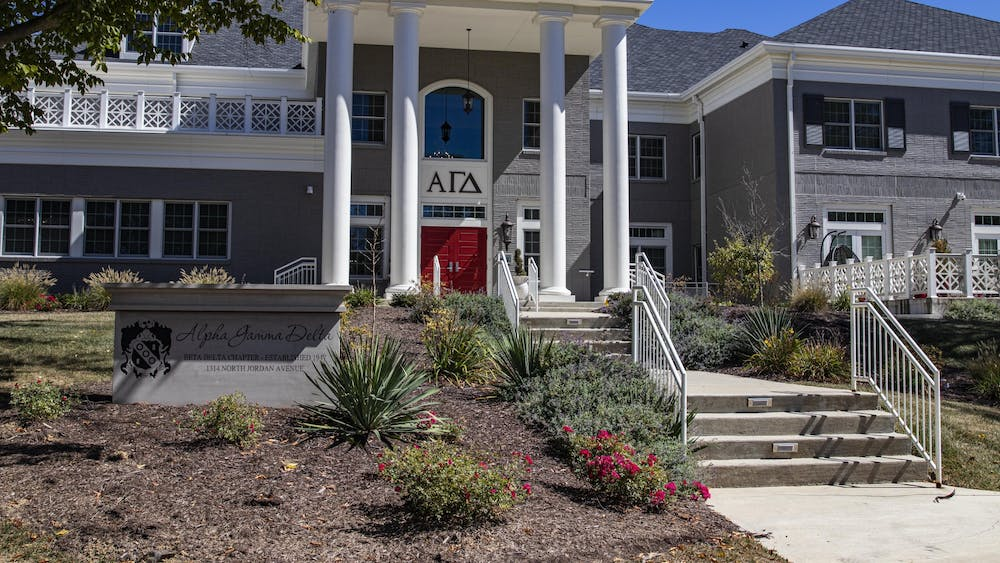 The Alpha Gamma Delta house is seen Sunday. Fifty members of the Alpha Gamma Delta sorority will voluntarily move out according to messages sent to members and parents obtained by the Indiana Daily Student.