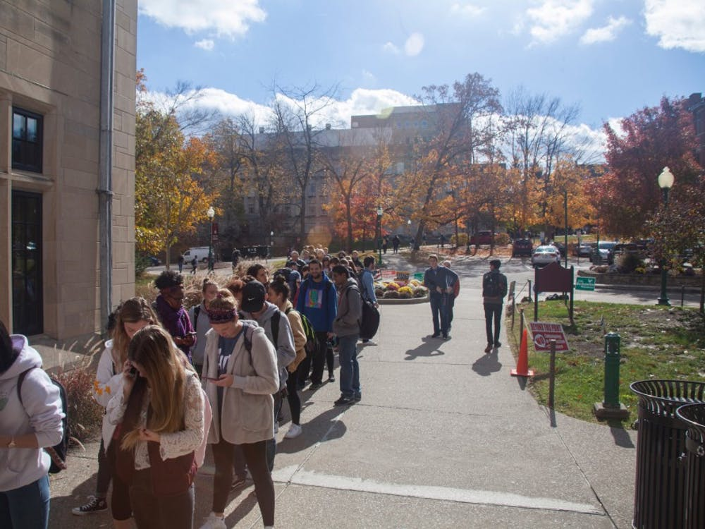 Students line up Nov. 6, 2018, to vote outside the Indiana Memorial Union.