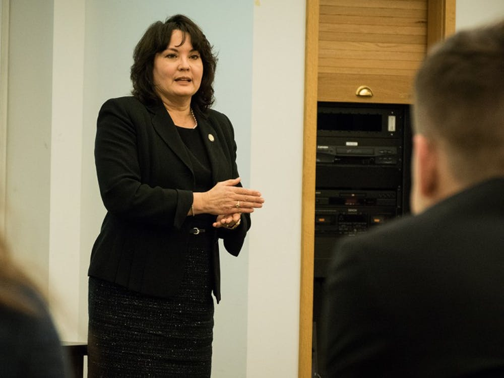 Indiana State Representative Peggy Mayfield shares her experiences with IU students at the Kelley School of Business on Monday. Mayfield represents House District 60, which includes portions of Morgan and Monroe counties.