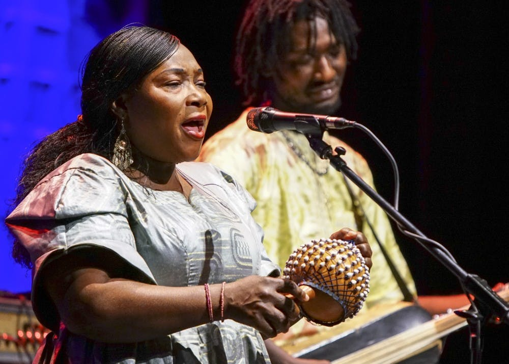 <p>Malian band Trio da Kali performs during the Lotus World Music and Arts Festival Saturday night in Buskirk Chumley Theatre. The trio performs traditional Mandé griot music with an emphasis on a soulful and expressive sound.</p>