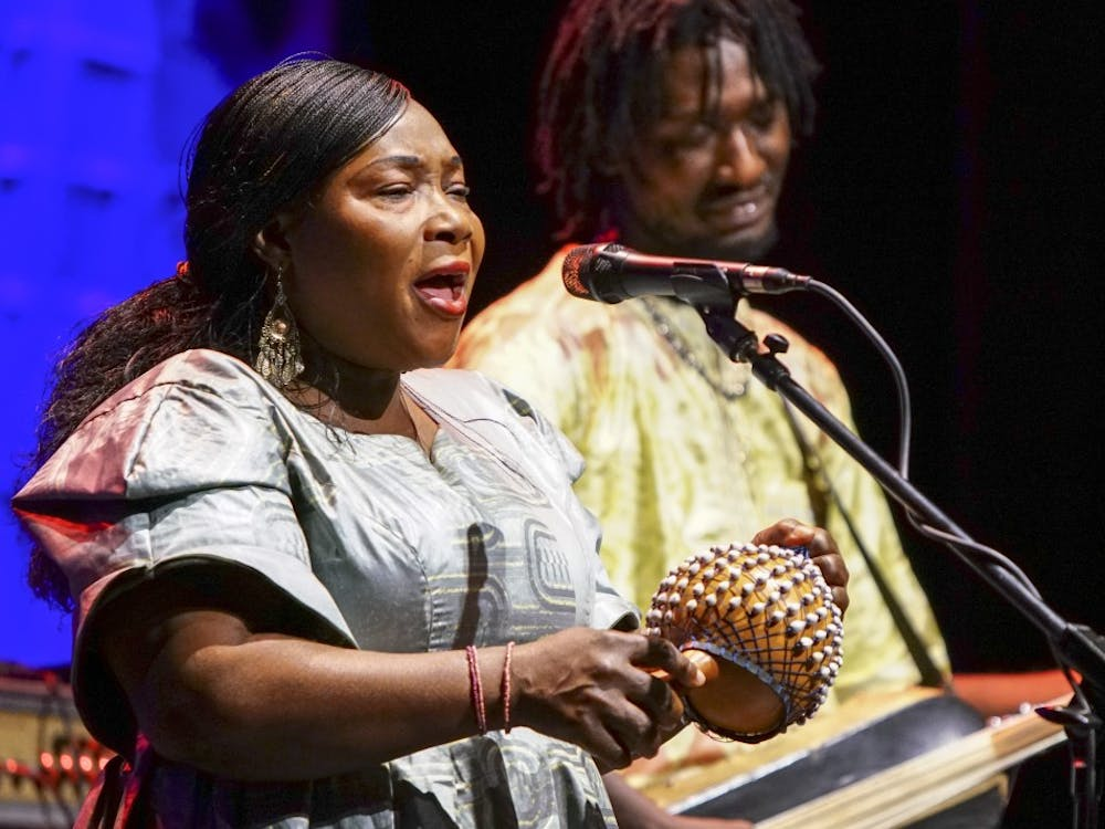Malian band Trio da Kali performs during the Lotus World Music and Arts Festival Saturday night in Buskirk Chumley Theatre. The trio performs traditional Mandé griot music with an emphasis on a soulful and expressive sound.