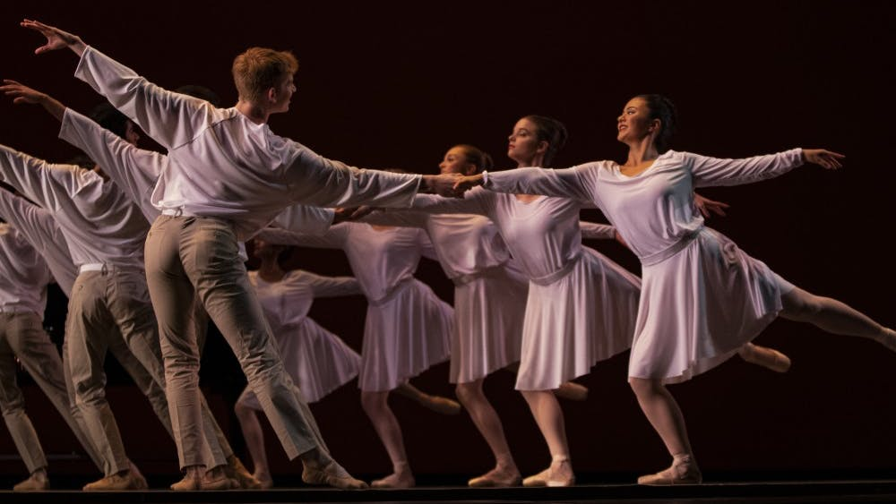 """Dancers from the Jacobs School of Music Opera and Ballet Theater prepare for their show, """"Darks Meets Light,"""" on Oct. 8 at the Musical Arts Center. The show will take place Oct. 11-12 at the MAC."""