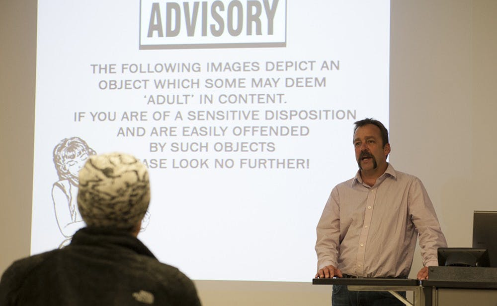 <p>Dean Adams, a ceramic artist, gives his lecture at the Henry Radford HopeSchool of Fine Arts on Tuesday. Adams teaches at Montana State University and exhibits nationally and internationally and hisart and lecture give special attention to the male anatomy.</p>