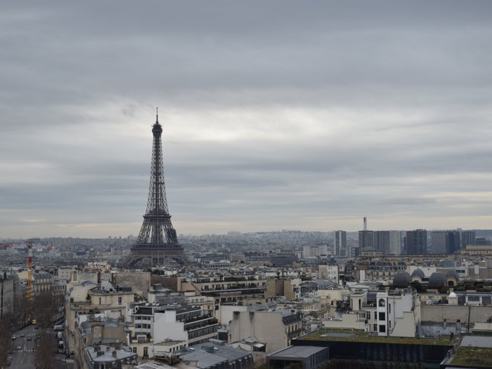 The Eiffel Tower in March is pictured from the top of the Arc de Triomphe in Paris.