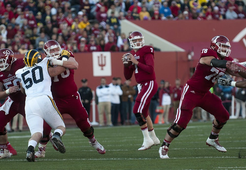 <p>Former IU quarterback Nate Sudfeld looks to pass during the against Michigan on Nov. 20, 2015, at Memorial Stadium. Super Bowl champion Sudfeld is currently a backup quarterback for the Philadelphia Eagles.</p>