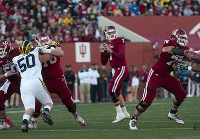 Former IU quarterback Nate Sudfeld looks to pass during the against Michigan on Nov. 20, 2015, at Memorial Stadium. Super Bowl champion Sudfeld is currently a backup quarterback for the Philadelphia Eagles.