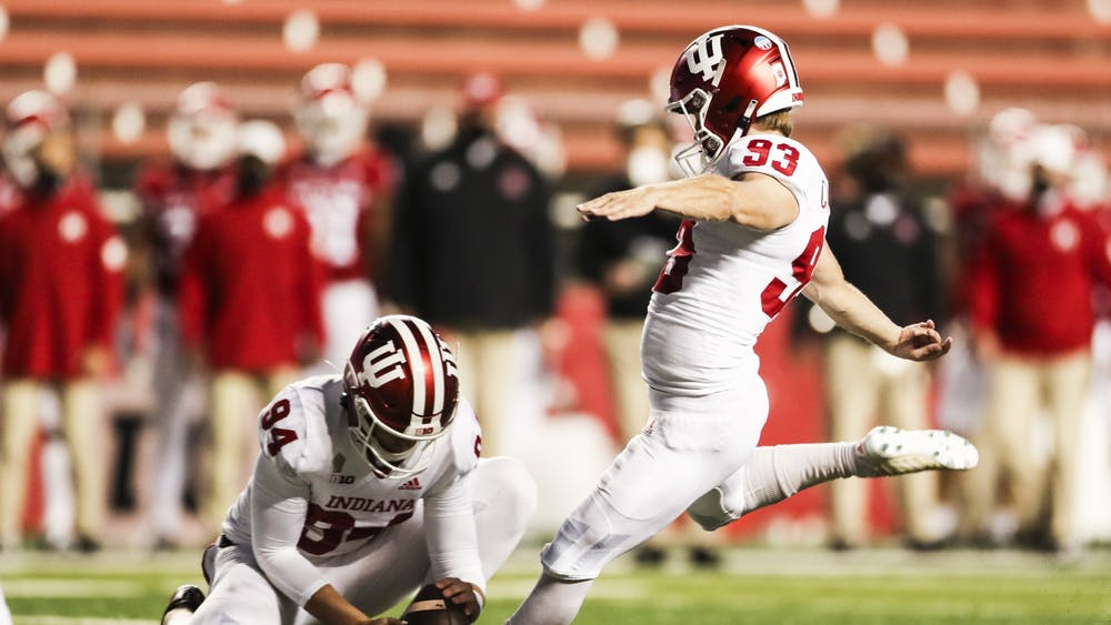 Sophomore kicker Charles Campbell kicks a field goal Oct. 31 at SHI Stadium in Piscataway, New Jersey. The Big Ten announced Monday that Campbell was named the Big Ten Special Teams Player of the Week after making a career-best three field goals in No. 17 IU's 37-21 victory over Rutgers.