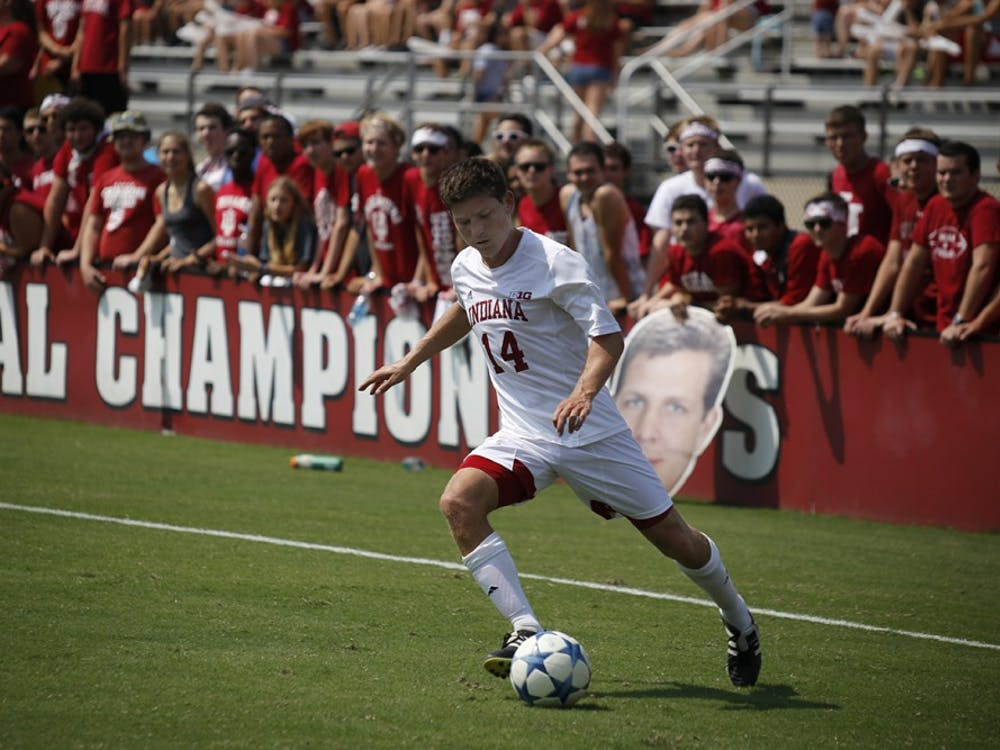 Senior Defender Phil Fives kicks the ball during IU's game against Notre Dame Sunday, August 30, 2015 at Bill Armstrong Stadium.