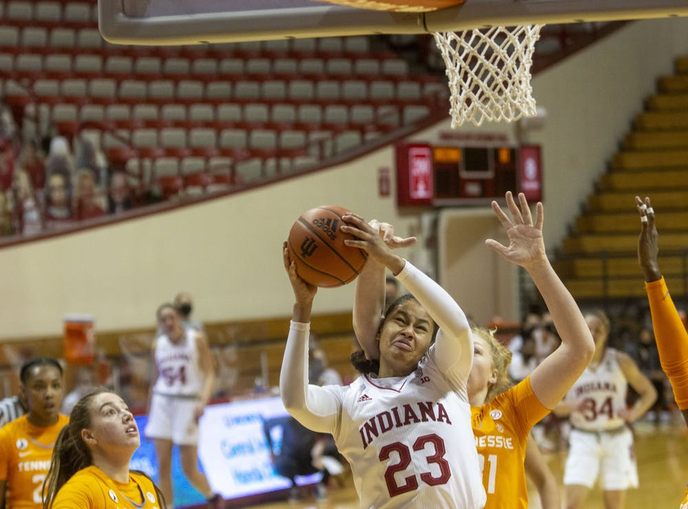Freshman Kiandra Browne drives to the basket through the University of Tennessee defense Dec. 17 in Simon Skjodt Assembly Hall. Browne scored three points off the bench for the Hoosiers in the 66-58 loss.