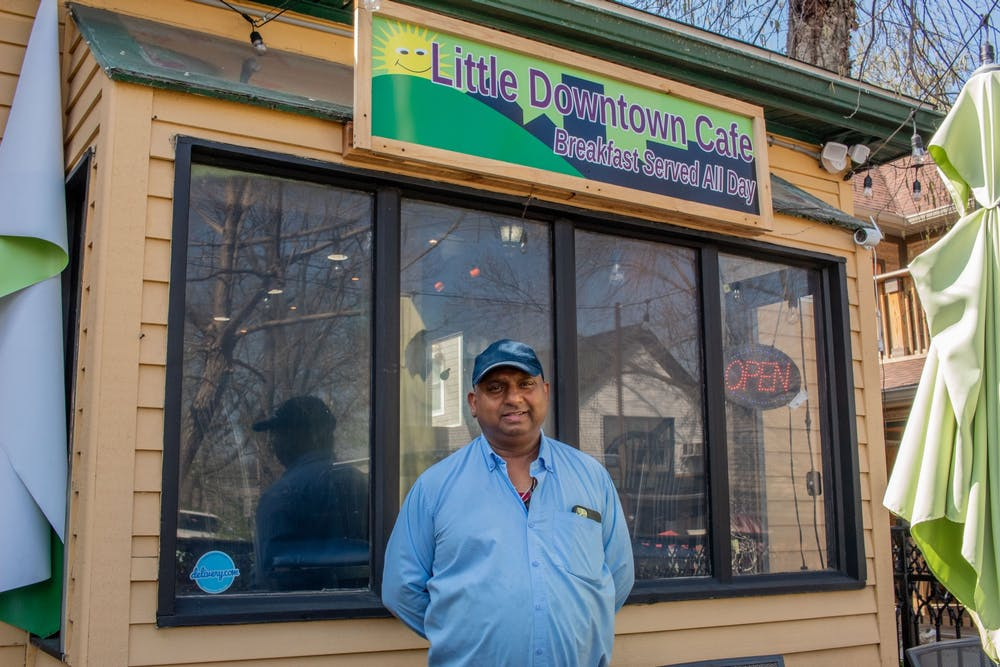 <p>India Garden owner Rakesh Kumar stands in front of his new restaurant on Fourth Street. Kumar&#x27;s restaurant Little Downtown Cafe features breakfast foods, coffee and desserts for dine-in, takeout and delivery.</p><p><em>CORRECTION: A previous version of this caption incorrectly spelled Rakesh Kumar&#x27;s name. </em></p>