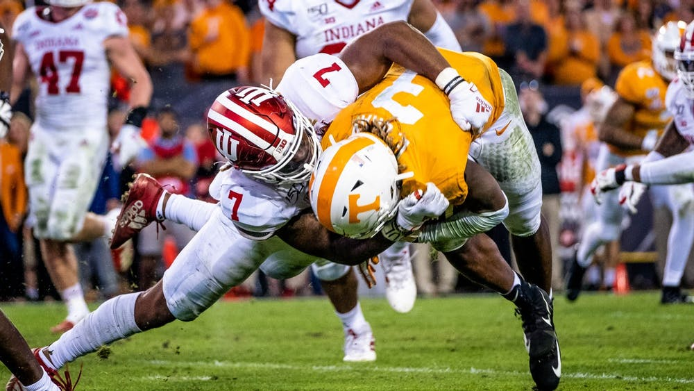 Fifth-year Reakwon Jones sacks a University of Tennessee player close to the ten yard line during the second half of the TaxSlayer Gator Bowl on Jan. 2 in Jacksonville, Florida. The draft for professional football hopefuls has become more difficult due to the coronavirus pandemic.