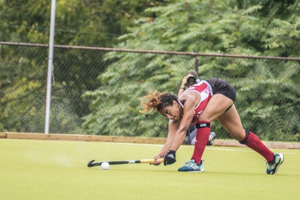<p>Senior Andi Jackson passes the ball during IU's win over Ball State University on Sept. 8 at the IU Field Hockey Complex. The IU field hockey team fell to No. 14 Ohio State 6-2 on Sunday at the IU Field Hockey Complex.</p>