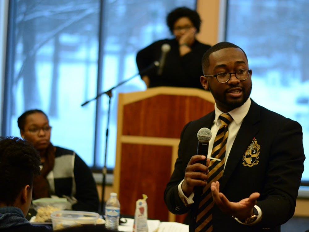Senior Calvin Sanders discusses diversity at the Martin Luther King Jr. Day Unity Summit Jan. 15, 2018. The next summit is Jan. 21.