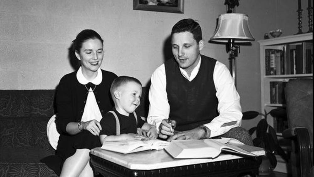 Former Sen. Birch Bayh is pictured with his wife Marvella Bayh and son Evan in their Bloomington home while Birch was studying at IU. Birch served as U.S. Senator from Indiana from 1963 to 1981.