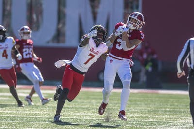 Sophomore wide receiver Ty Fryfogle catches the ball during the first half of IU's game against Maryland on Nov. 10 at Memorial Stadium.