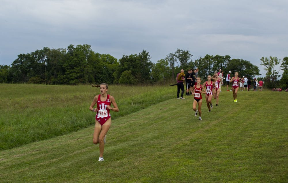 <p>The Indiana women&#x27;s cross country team run against Miami University Sept. 4, 2021, at the IU Championship Course. The women&#x27;s team is ranked No. 18 nationally and the men&#x27;s team is ranked No. 22. </p>