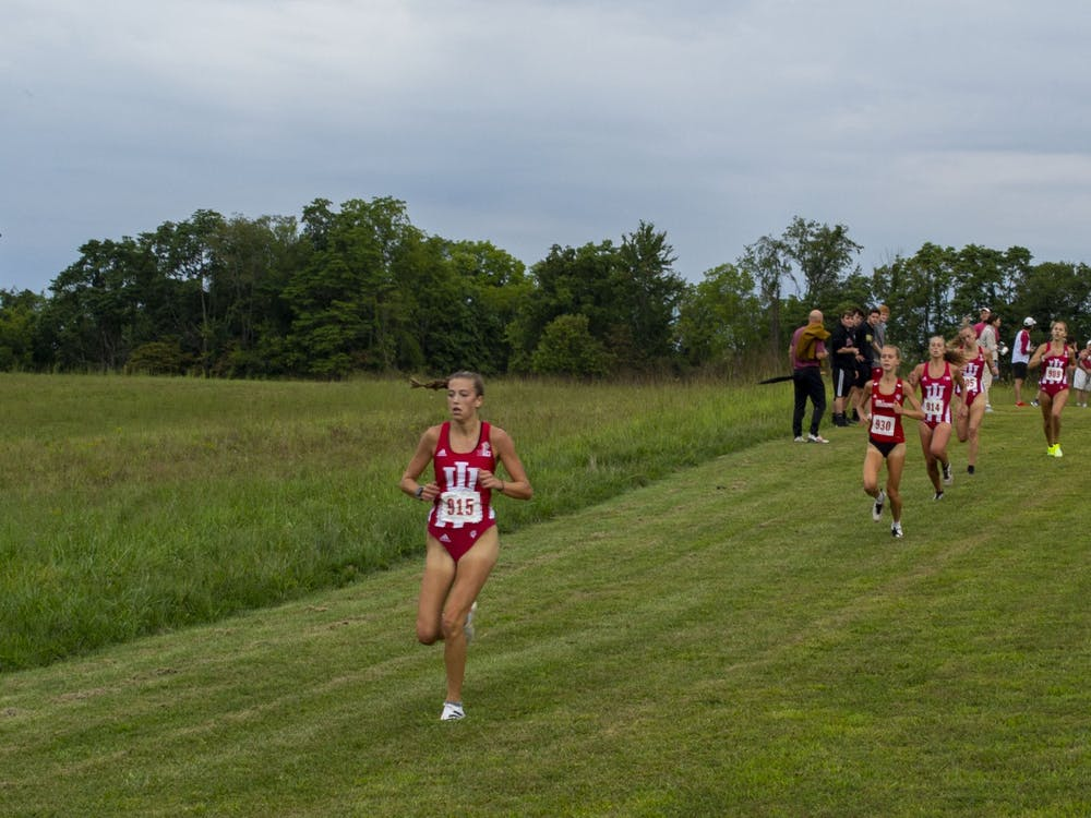 The Indiana women's cross country team run against Miami University Sept. 4, 2021, at the IU Championship Course. The women's team is ranked No. 18 nationally and the men's team is ranked No. 22.