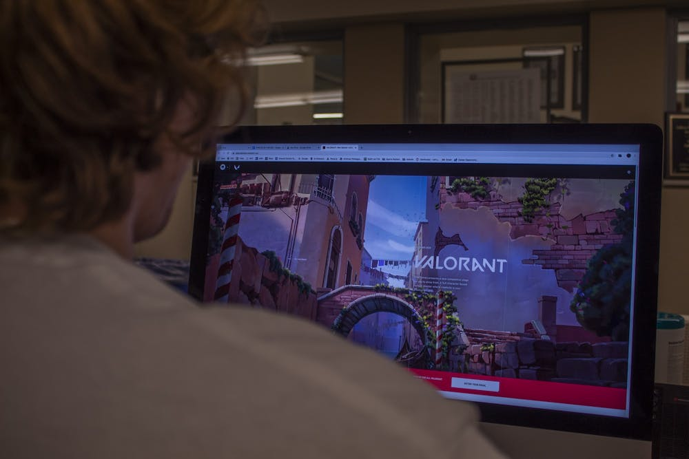 <p>A student plays Valorant, a five versus five character-based tactical shooter game, March 8.</p>