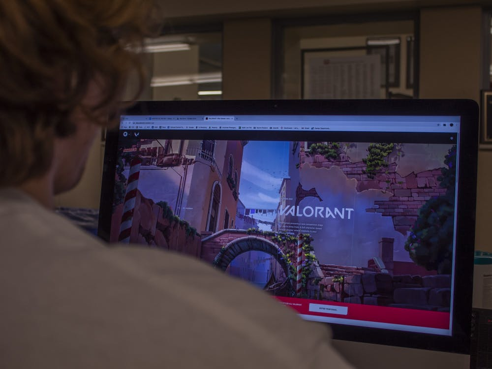 A student plays Valorant, a five versus five character-based tactical shooter game, March 8.