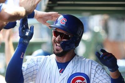 Chicago Cubs third baseman Kris Bryant is congratulated on a three-run home run Sept. 15, 2019, against the Pittsburgh Pirates in the first inning at Wrigley Field. Bryant will play one more year for the Cubs after losing a grievance with the team.